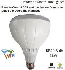 China AC100V - AC240V Intelligent Light Bulb 18W Dimmable CCT Adjustable BR40 supplier