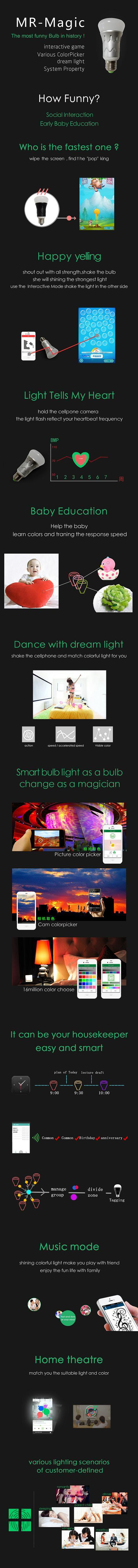 IP44 RGB LED Bulb Bluetooth Control 2700K - 6500K 120degree