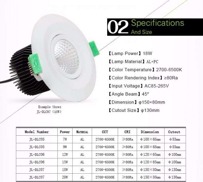 Recessed 11W 13W LED Dimmable Downlight Downlight LED Dimmable LED Down Light